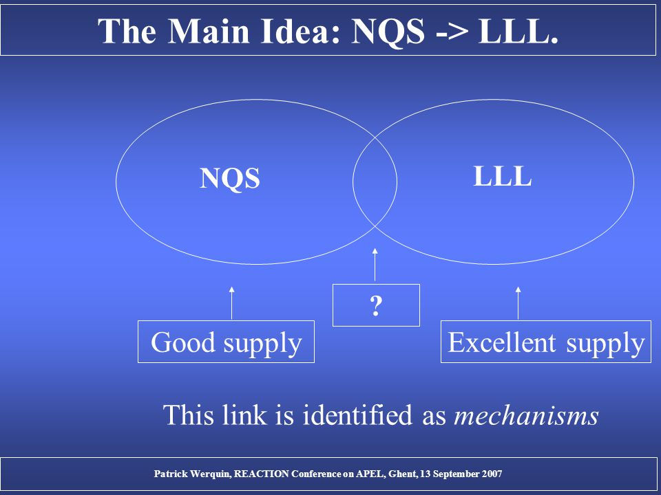 The Main Idea: NQS -> LLL. Good supplyExcellent supply .