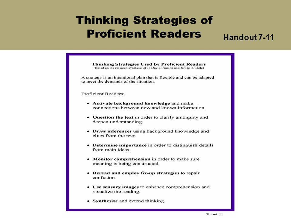 Thinking Strategies of Proficient Readers Handout 7-11
