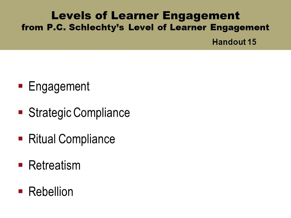 Levels of Learner Engagement from P.C.
