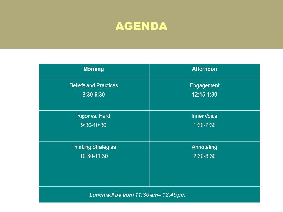 AGENDA One-Day Format MorningAfternoon Beliefs and Practices 8:30-9:30 Engagement 12:45-1:30 Rigor vs. Hard 9:30-10:30 Inner Voice 1:30-2:30 Thinking