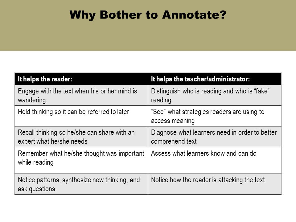 Why Bother to Annotate? It helps the reader:It helps the teacher/administrator: Engage with the text when his or her mind is wandering Distinguish who