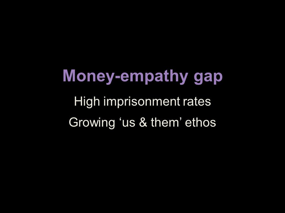 Money-empathy gap High imprisonment rates Growing 'us & them' ethos