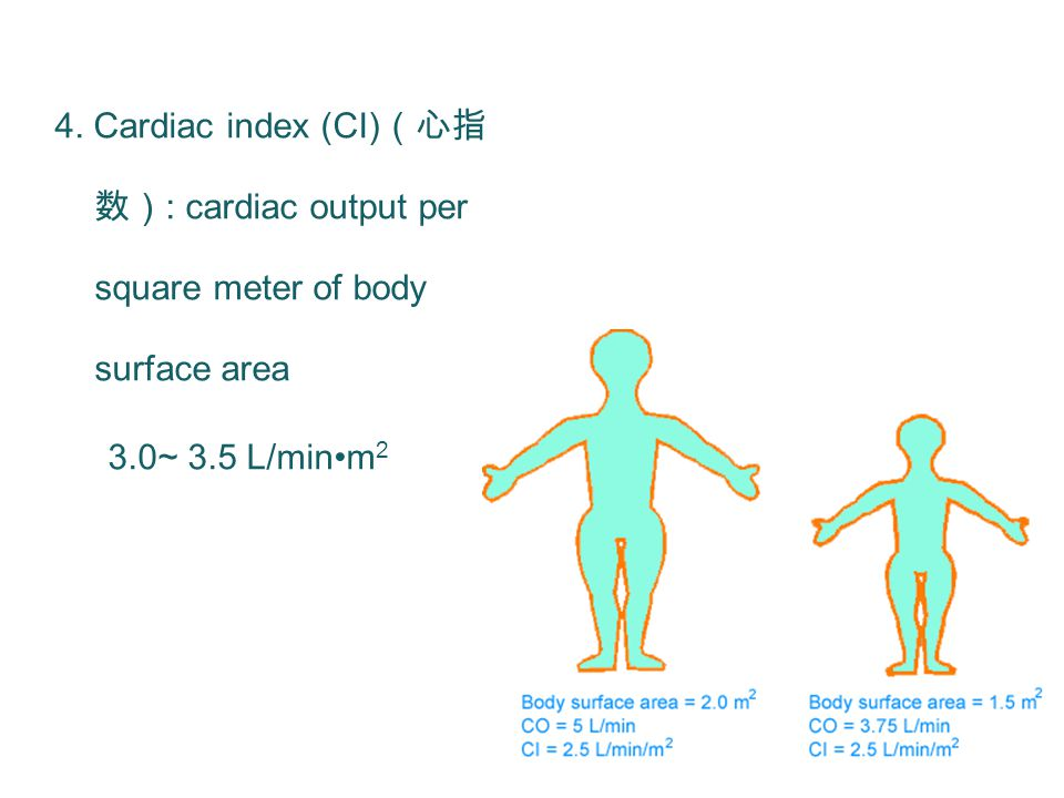 4. Cardiac index (CI) (心指 数) : cardiac output per square meter of body surface area 3.0~ 3.5 L/minm 2