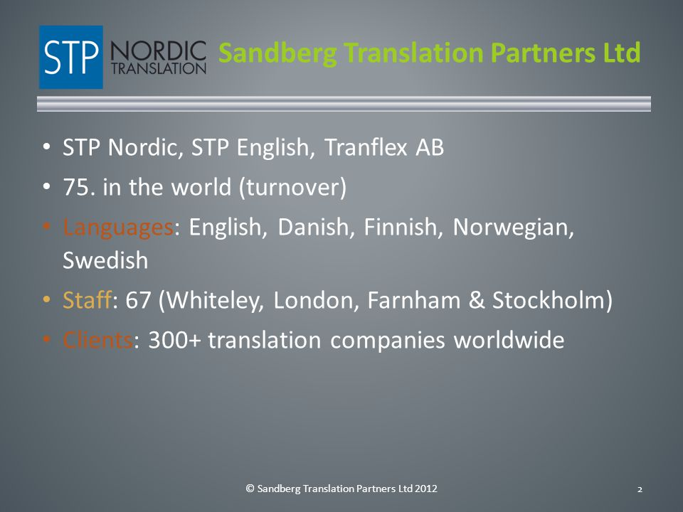 © Sandberg Translation Partners Ltd 201213 How do I get there.