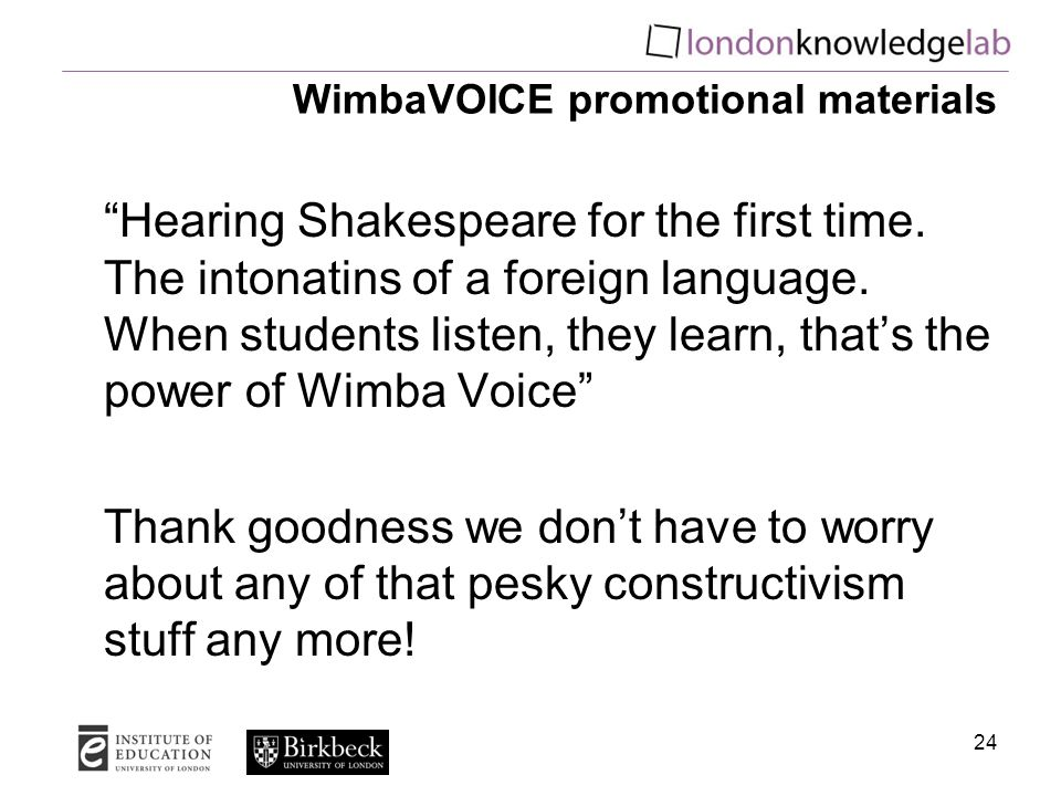 WimbaVOICE promotional materials Hearing Shakespeare for the first time.