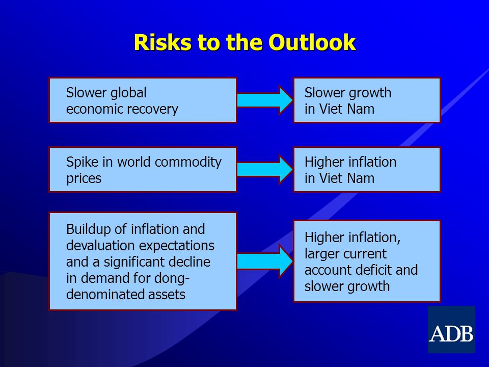 Risks to the Outlook Slower global economic recovery Slower growth in Viet Nam Spike in world commodity prices Higher inflation in Viet Nam Buildup of inflation and devaluation expectations and a significant decline in demand for dong- denominated assets Higher inflation, larger current account deficit and slower growth