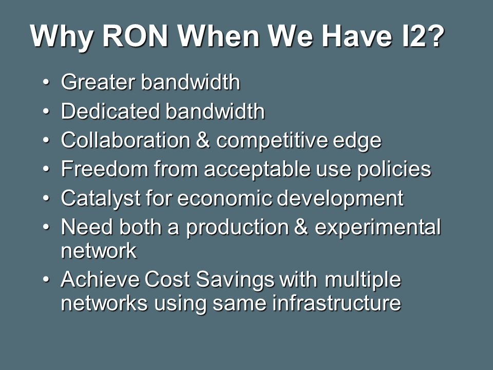 Why RON When We Have I2.