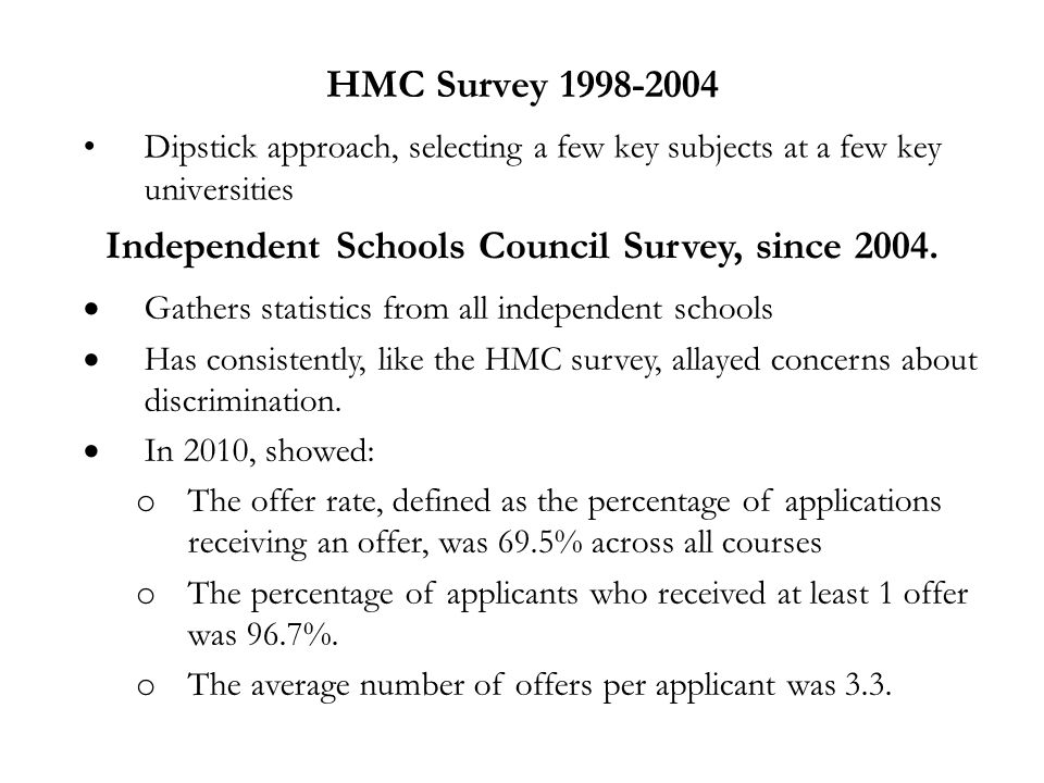HMC Survey 1998-2004 Dipstick approach, selecting a few key subjects at a few key universities Independent Schools Council Survey, since 2004.