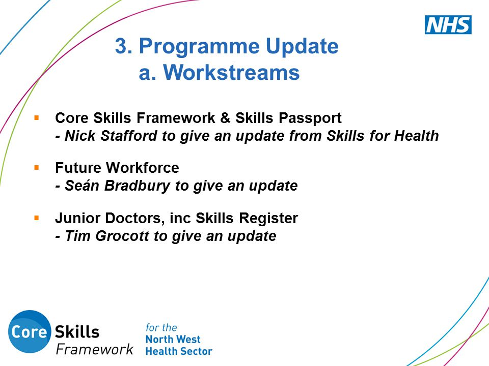  Core Skills Framework & Skills Passport - Nick Stafford to give an update from Skills for Health  Future Workforce - Seán Bradbury to give an update  Junior Doctors, inc Skills Register - Tim Grocott to give an update 3.