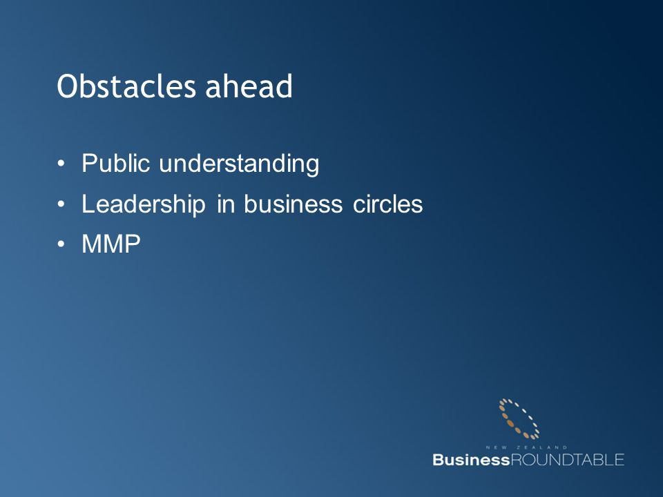 Obstacles ahead Public understanding Leadership in business circles MMP