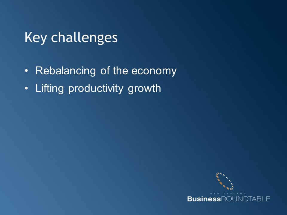 Key challenges Rebalancing of the economy Lifting productivity growth