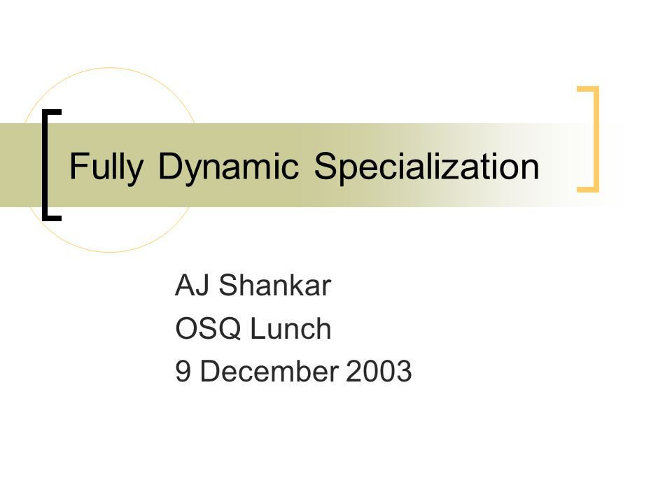 Fully Dynamic Specialization AJ Shankar OSQ Lunch 9 December 2003