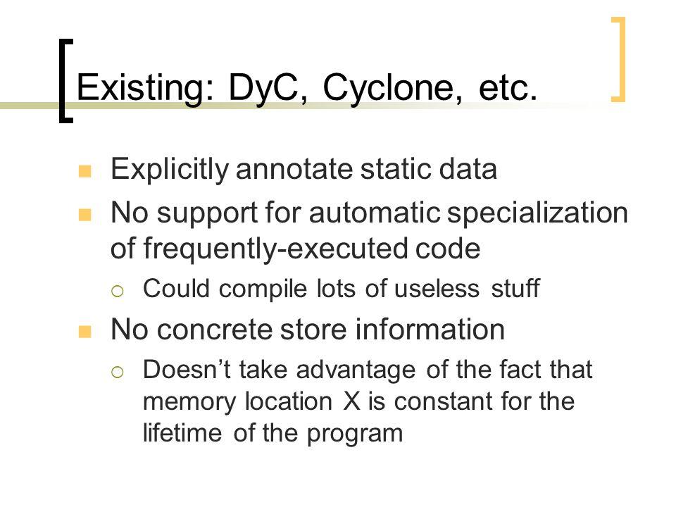 Existing: DyC, Cyclone, etc.