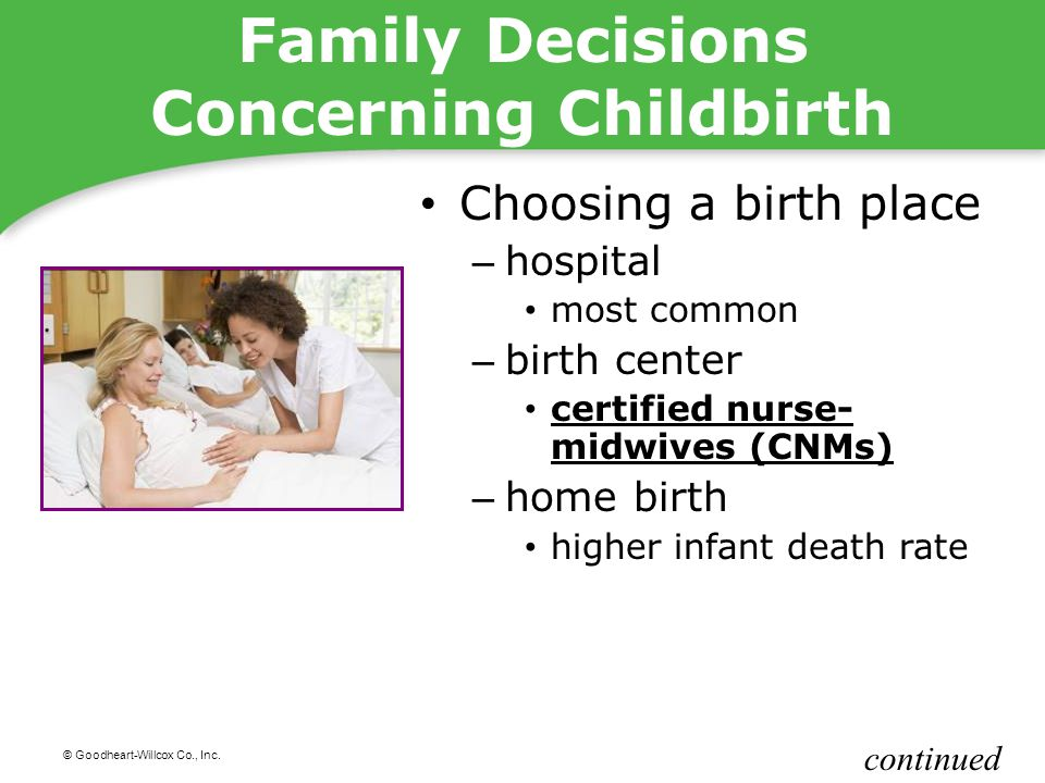 © Goodheart-Willcox Co., Inc. Family Decisions Concerning Childbirth Choosing a birth place – hospital most common – birth center certified nurse- mid
