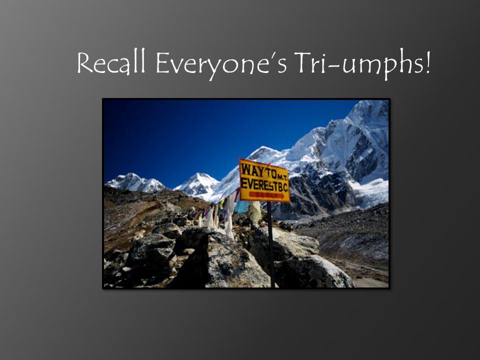 Recall Everyone's Tri-umphs!
