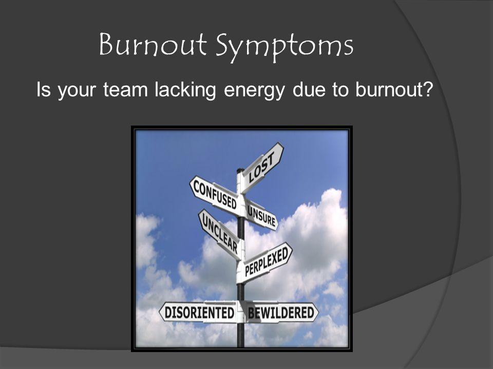 Burnout Symptoms Is your team lacking energy due to burnout