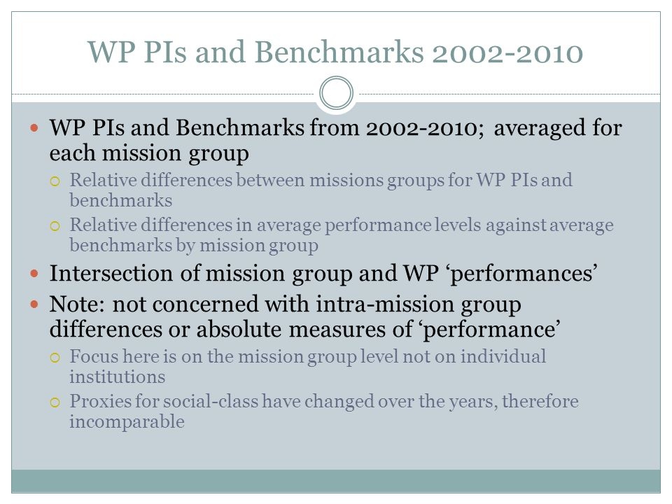 WP PIs and Benchmarks 2002-2010 WP PIs and Benchmarks from 2002-2010; averaged for each mission group  Relative differences between missions groups f