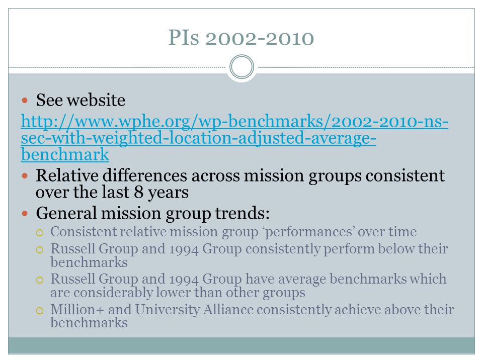 PIs 2002-2010 See website http://www.wphe.org/wp-benchmarks/2002-2010-ns- sec-with-weighted-location-adjusted-average- benchmark Relative differences