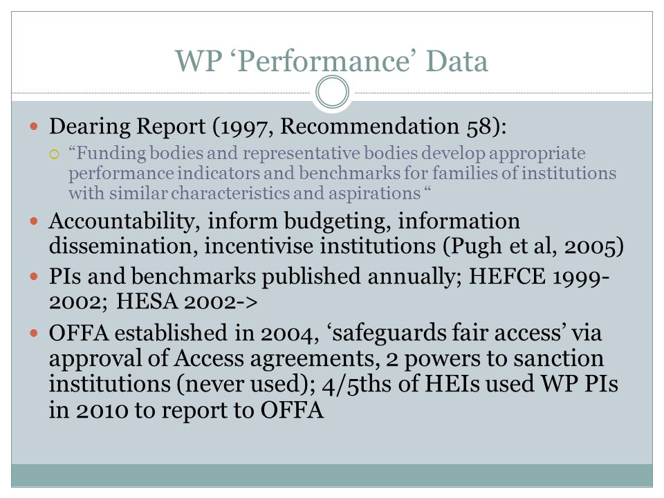 "WP 'Performance' Data Dearing Report (1997, Recommendation 58):  ""Funding bodies and representative bodies develop appropriate performance indicators"