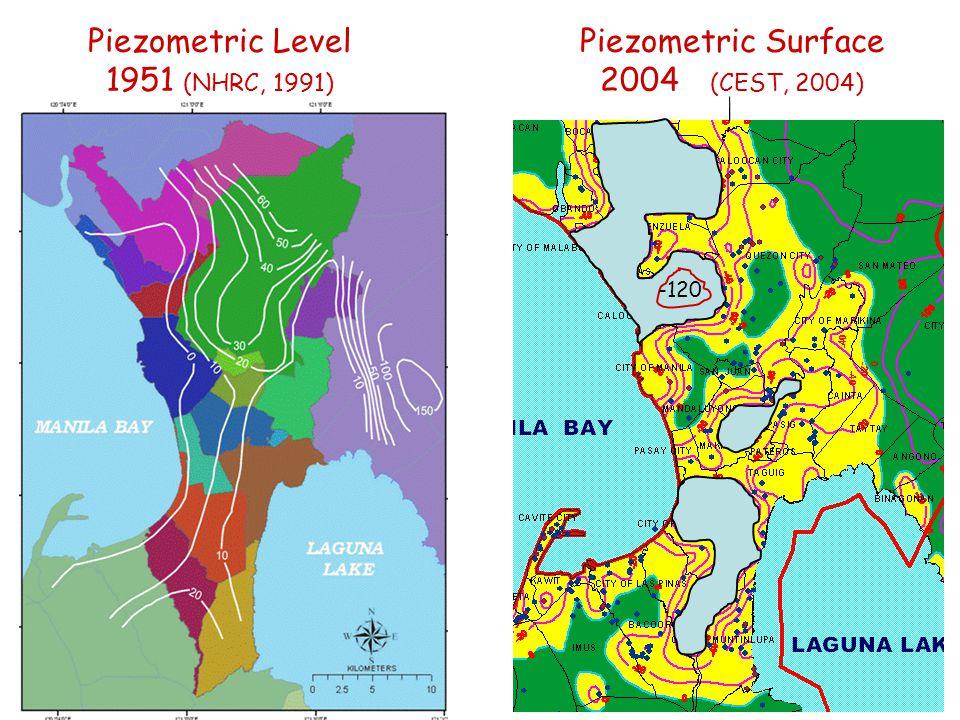Piezometric Level 1951 (NHRC, 1991) -120 Piezometric Surface 2004 (CEST, 2004)