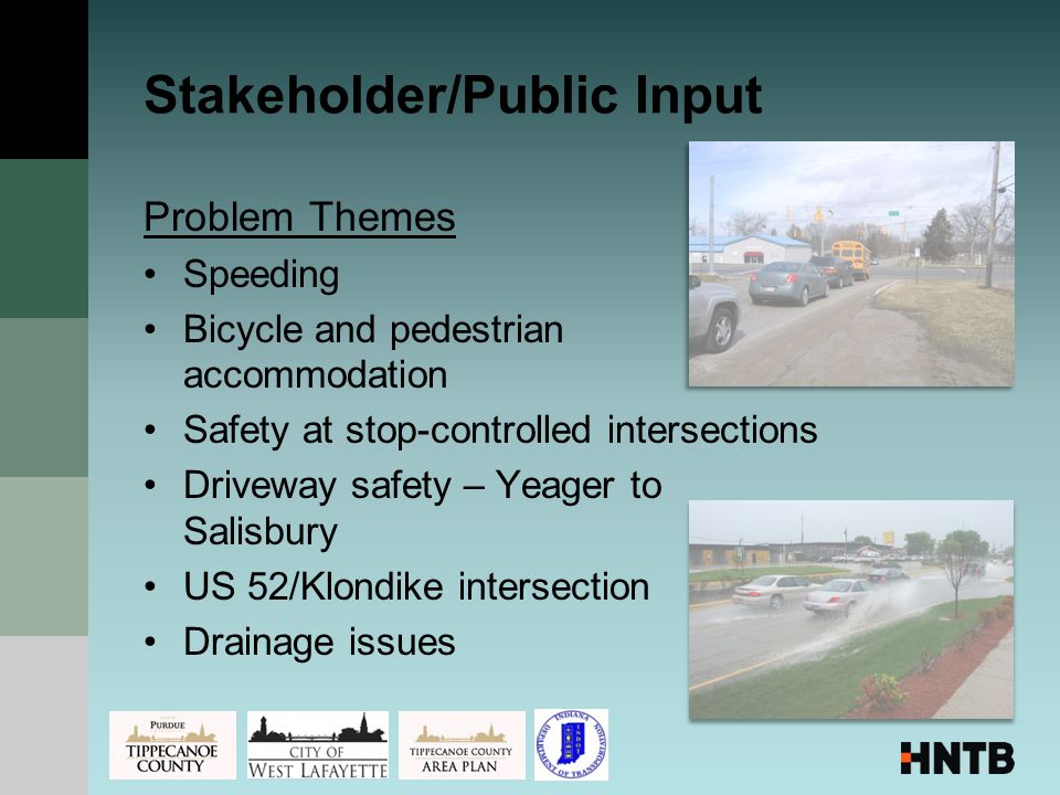 Problem Themes Speeding Bicycle and pedestrian accommodation Safety at stop-controlled intersections Driveway safety – Yeager to Salisbury US 52/Klondike intersection Drainage issues Stakeholder/Public Input
