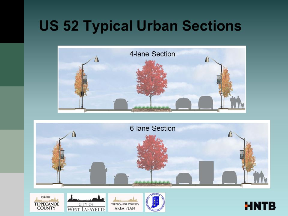 US 52 Typical Urban Sections 4-lane Section6-lane Section
