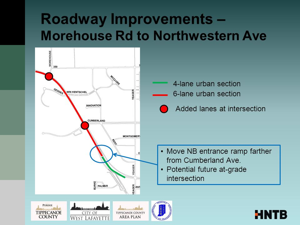 Roadway Improvements – Morehouse Rd to Northwestern Ave 4-lane urban section 6-lane urban section Added lanes at intersection Move NB entrance ramp farther from Cumberland Ave.