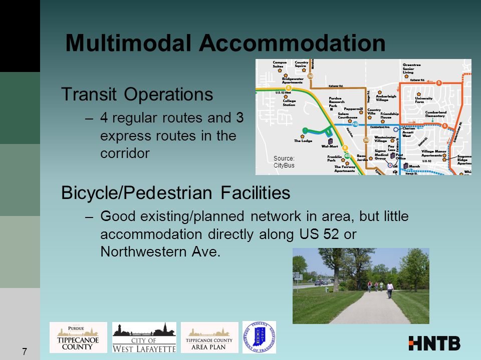 Multimodal Accommodation Transit Operations –4 regular routes and 3 express routes in the corridor Bicycle/Pedestrian Facilities –Good existing/planned network in area, but little accommodation directly along US 52 or Northwestern Ave.