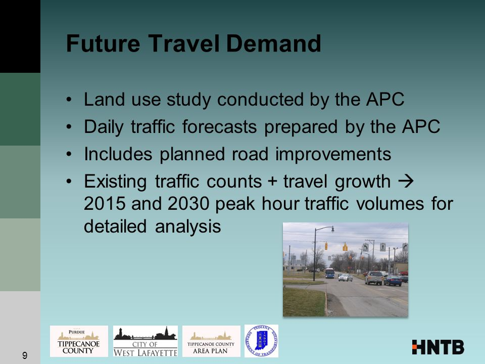 Future Travel Demand Land use study conducted by the APC Daily traffic forecasts prepared by the APC Includes planned road improvements Existing traffic counts + travel growth  2015 and 2030 peak hour traffic volumes for detailed analysis 9