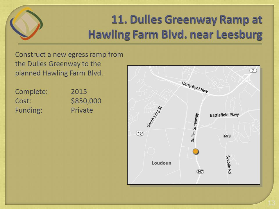 Construct a new egress ramp from the Dulles Greenway to the planned Hawling Farm Blvd.