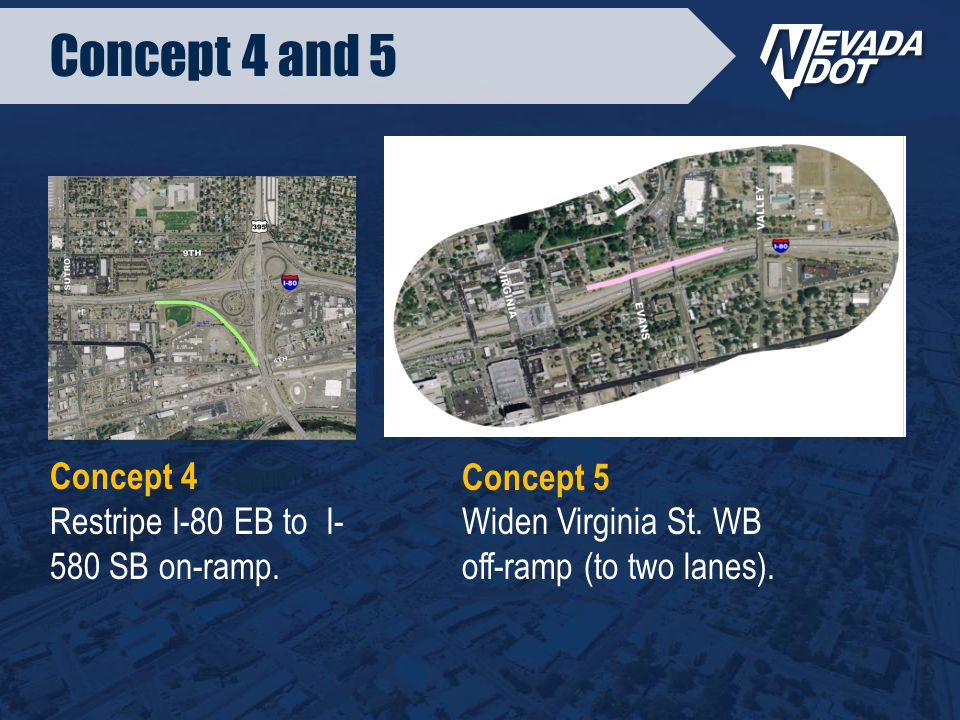 Concept 4 and 5 Concept 4 Restripe I-80 EB to I- 580 SB on-ramp.