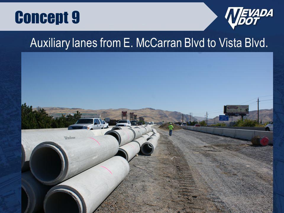 Concept 9 Auxiliary lanes from E. McCarran Blvd to Vista Blvd.