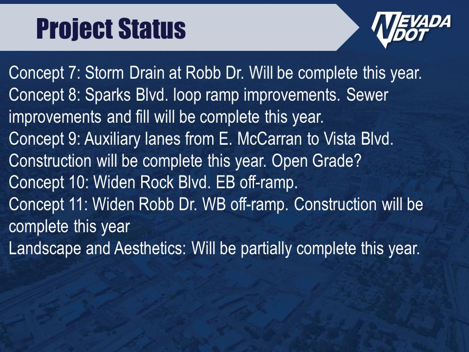 Concept 7: Storm Drain at Robb Dr. Will be complete this year.