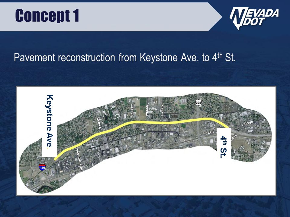 Concept 1 Pavement reconstruction from Keystone Ave. to 4 th St. Keystone Ave. 4 th St.