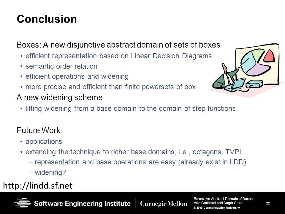 22 Boxes: An Abstract Domain of Boxes Arie Gurfinkel and Sagar Chaki © 2010 Carnegie Mellon University Conclusion Boxes: A new disjunctive abstract domain of sets of boxes efficient representation based on Linear Decision Diagrams semantic order relation efficient operations and widening more precise and efficient than finite powersets of box A new widening scheme lifting widening from a base domain to the domain of step functions Future Work applications extending the technique to richer base domains, i.e., octagons, TVPI – representation and base operations are easy (already exist in LDD) – widening.