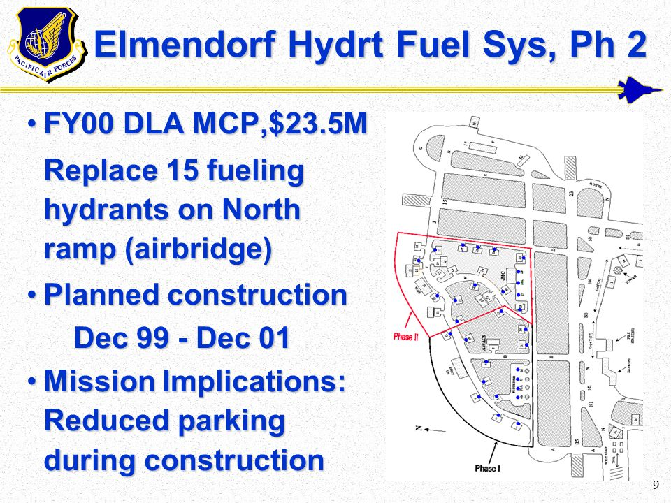 8 Elmendorf Hydrt Fuel Sys, Ph 1 FY99 DLA MCP,$19.5MFY99 DLA MCP,$19.5M Remove 14/Install 15 fueling hydrants on North ramp (airbridge) Remove 14/Install 15 fueling hydrants on North ramp (airbridge) Status:Status: 38% Cns/ECD Feb 00 38% Cns/ECD Feb 00 Mission Implications: Reduced parking during constructionMission Implications: Reduced parking during construction N
