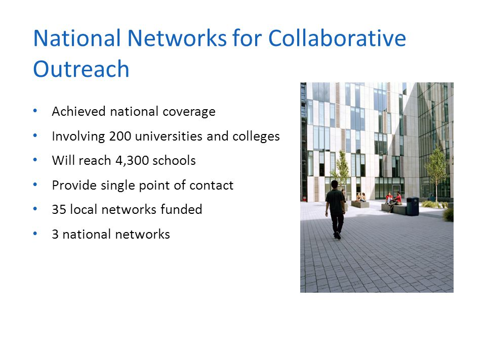 Achieved national coverage Involving 200 universities and colleges Will reach 4,300 schools Provide single point of contact 35 local networks funded 3