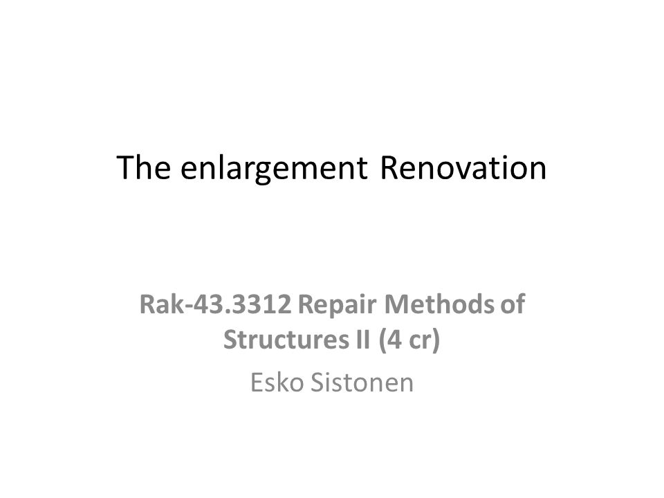 The enlargement Renovation of a high Standard The subject of this study was the feasibility of enlargement as an option in the renovation of the block of flats