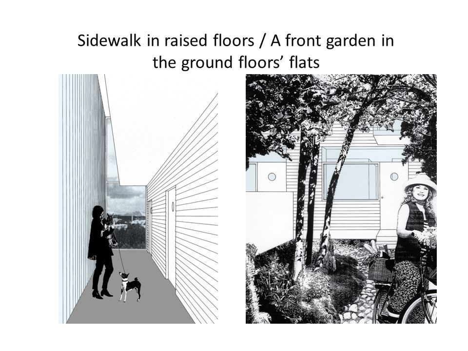 Sidewalk in raised floors / A front garden in the ground floors' flats