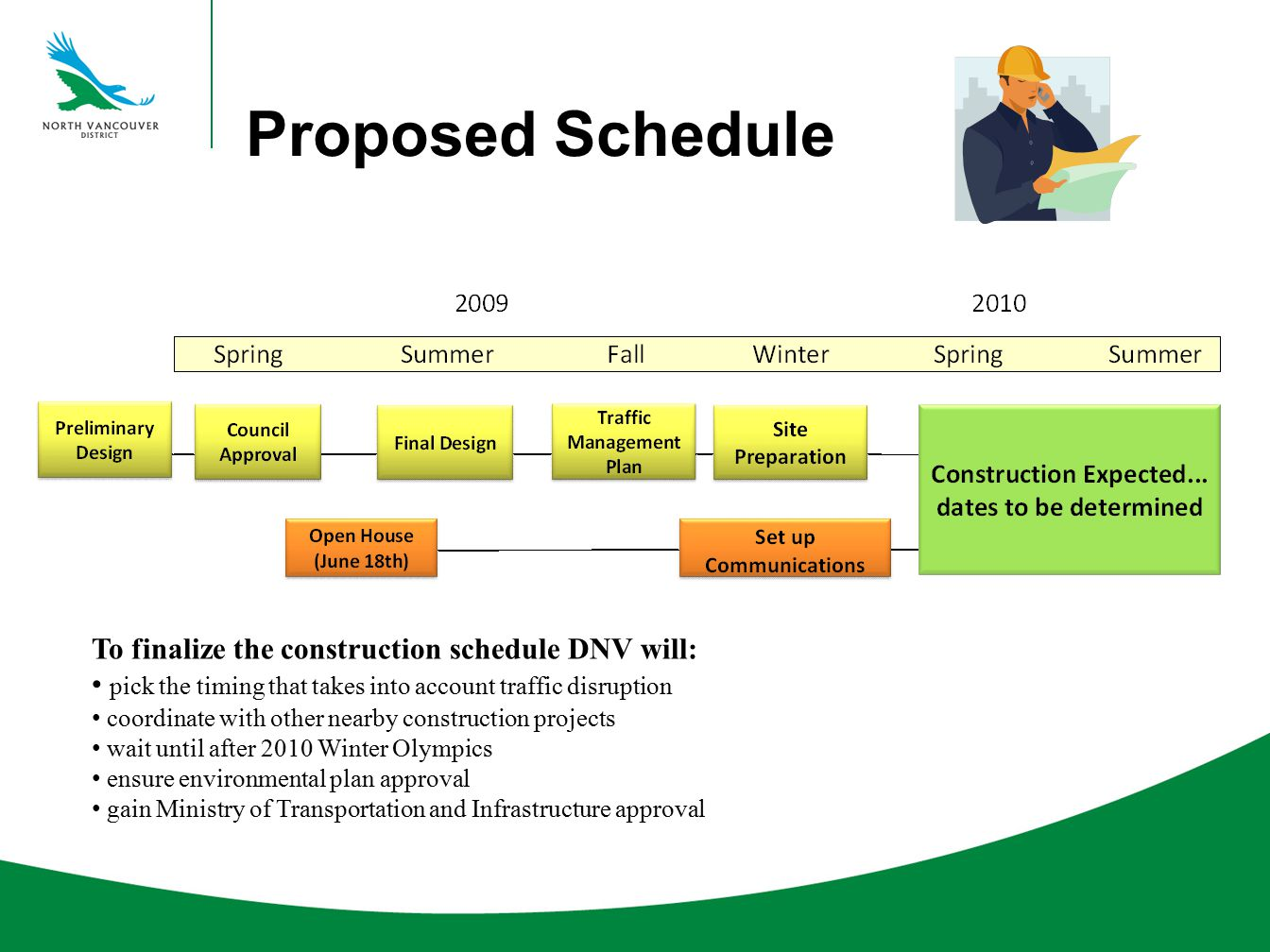 Proposed Schedule To finalize the construction schedule DNV will: pick the timing that takes into account traffic disruption coordinate with other nea