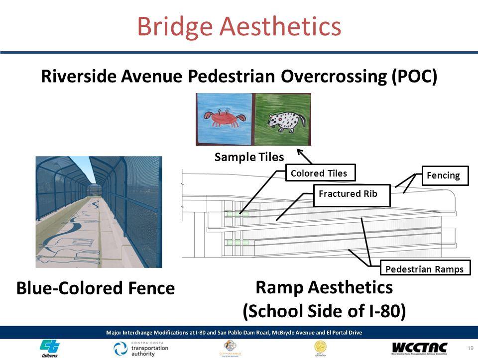 Bridge Aesthetics Riverside Avenue Pedestrian Overcrossing (POC) Blue-Colored Fence Ramp Aesthetics (School Side of I-80) 19 Colored Tiles Fractured R