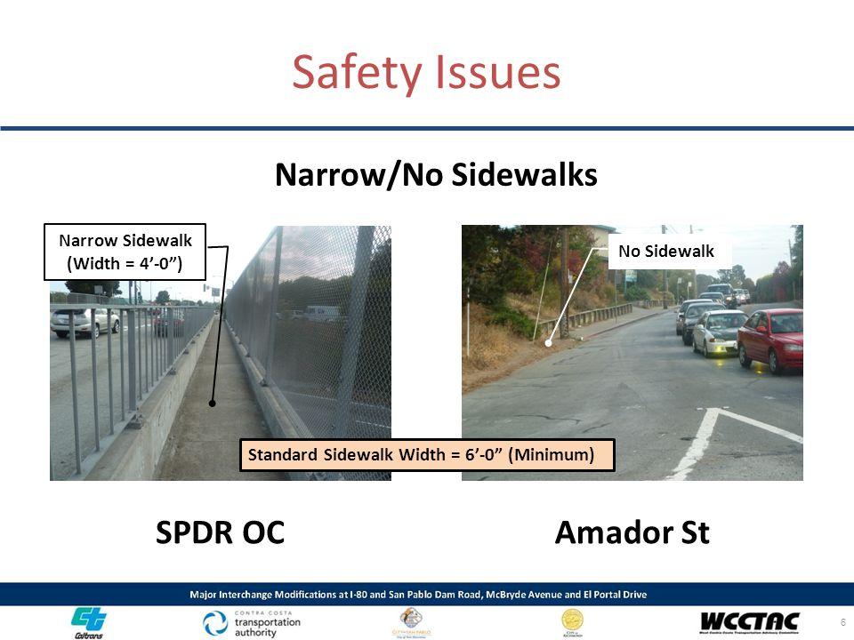 "Narrow/No Sidewalks 6 Safety Issues SPDR OCAmador St Narrow Sidewalk (Width = 4'-0"") Standard Sidewalk Width = 6'-0"" (Minimum) No Sidewalk"