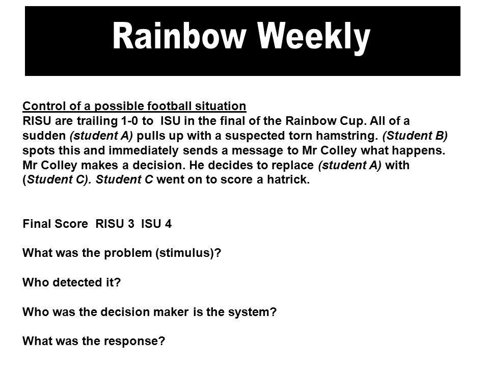 Control of a possible football situation RISU are trailing 1-0 to ISU in the final of the Rainbow Cup.