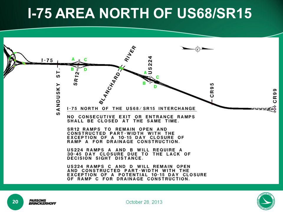 www.transporta6 ion.ohio.gov 20 October 28, 2013 I-75 AREA NORTH OF US68/SR15