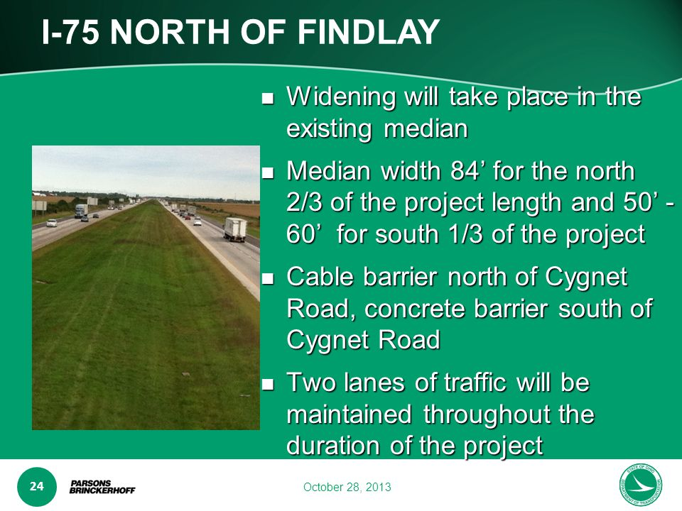 www.transporta6 ion.ohio.gov 24 October 28, 2013 I-75 NORTH OF FINDLAY Widening will take place in the existing median Widening will take place in the existing median Median width 84' for the north 2/3 of the project length and 50' - 60' for south 1/3 of the project Median width 84' for the north 2/3 of the project length and 50' - 60' for south 1/3 of the project Cable barrier north of Cygnet Road, concrete barrier south of Cygnet Road Cable barrier north of Cygnet Road, concrete barrier south of Cygnet Road Two lanes of traffic will be maintained throughout the duration of the project Two lanes of traffic will be maintained throughout the duration of the project