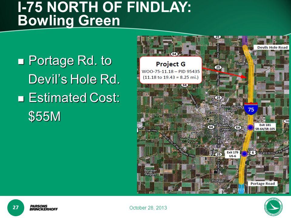 www.transporta6 ion.ohio.gov 27 October 28, 2013 I-75 NORTH OF FINDLAY: Bowling Green Portage Rd.
