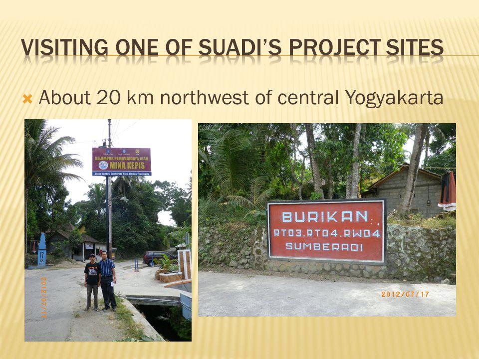  About 20 km northwest of central Yogyakarta