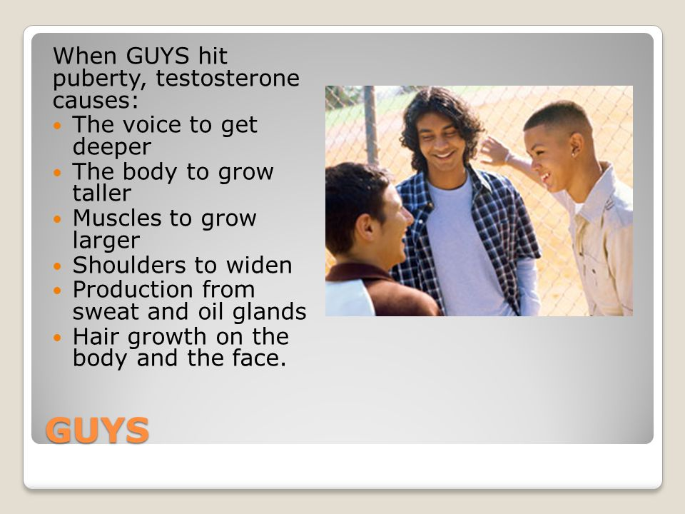 GUYS When GUYS hit puberty, testosterone causes: The voice to get deeper The body to grow taller Muscles to grow larger Shoulders to widen Production