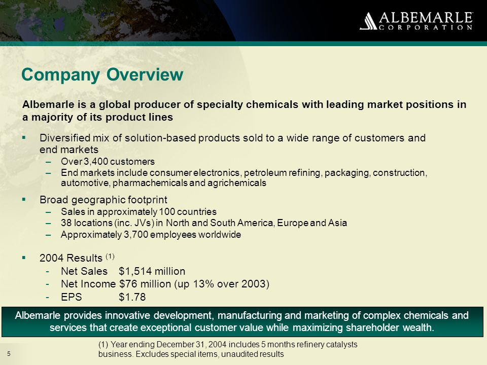 5 Company Overview Albemarle is a global producer of specialty chemicals with leading market positions in a majority of its product lines Albemarle provides innovative development, manufacturing and marketing of complex chemicals and services that create exceptional customer value while maximizing shareholder wealth.