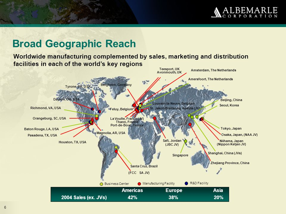 6 Broad Geographic Reach 2004 Sales (ex.